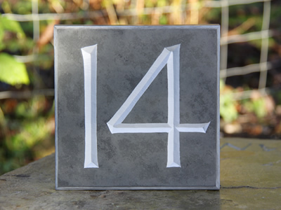 House number cut in slate